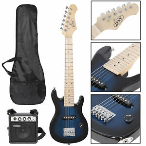 """Electric Guitar With Amp Much More Guitar 30"""" Kids Blue Combo Accessory Kit"""