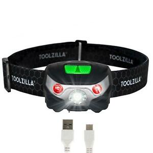 TOOLZILLA-USB-Rechargeable-LED-Head-Torch-Running-Camping-DIY-Fishing