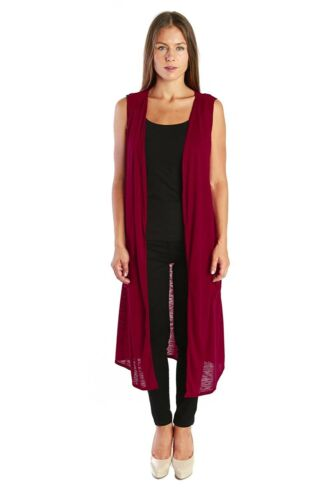 Nelly Aura Open Duster Sleeveless Long Cardigan Vest w// Pockets MADE IN USA