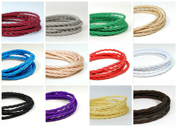 1-10M 3 Core Twisted Braided Vintage Fabric Coloured Lighting Cables Flex 0.75mm