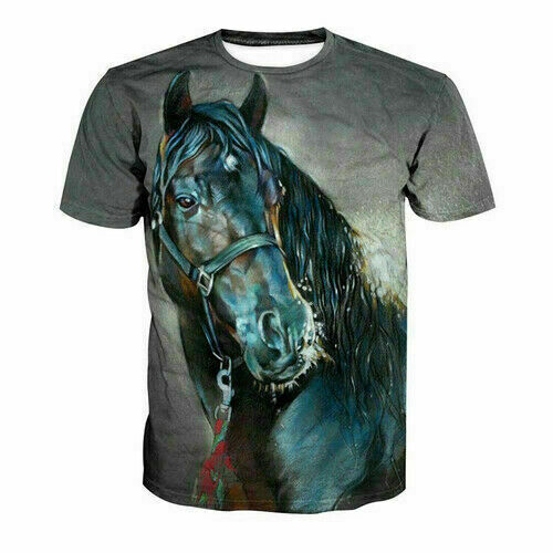 2019 Ctue Animal Horse Funny3D print Casual T-Shirt Women Men Short Sleeve Tops