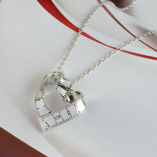 1pc Women Silver Twist Ruler Pendant Necklace Heart Chain Fashion Jewelry