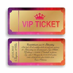 Das Bild Wird Geladen Einladungskarte Geburtstagskarte VIP Ticket  Eintrittskarte Einladung E20