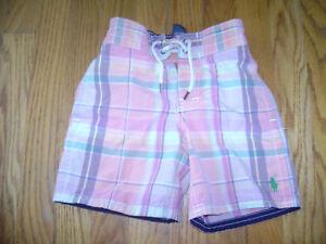 32f2d4d6eff9b POLO RALPH LAUREN Boys Swim Shorts Trunks size 4 4T PINK GREEN ...