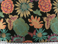 Drapery Upholstery Fabric Bright Butterfly Floral Design - Turquoise On Black