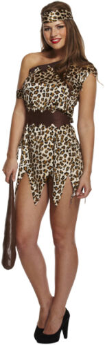 Fancy Dress Cave Woman Girl Fits 10-14 Av With Or Without Choker