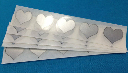 """100 SILVER HEART 1/"""" SCRATCH OFF STICKERS LABELS TICKETS PROMOTIONAL GAMES FAVORS"""