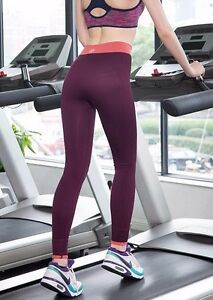 Damen-Sport-Fitness-Hose-Leggings-High-Waisted-Lila-fuer-XS-34-S-36-M-38-L-40