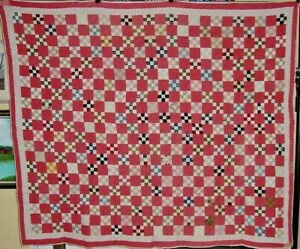 ANTIQUE-MINATURE-NINE-PATCH-QUILT-1300-HAND-STITCH-PIECES-WITH-MAKER-NOTE-1898