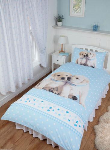 Labrador Dog Paws Polka Dot Blue White Rachael Hale Duvet Cover Bedding Curtains