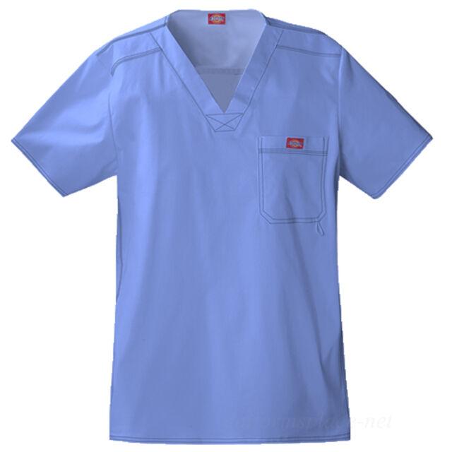 Dickies Scrubs Top Mens MEDICAL SCRUB Youtility V-neck Shirts Chest Pocket 81722