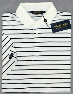 NEW-89-Polo-Golf-Ralph-Lauren-White-Striped-Short-Sleeve-Shirt-Mens-Wicking-NWT