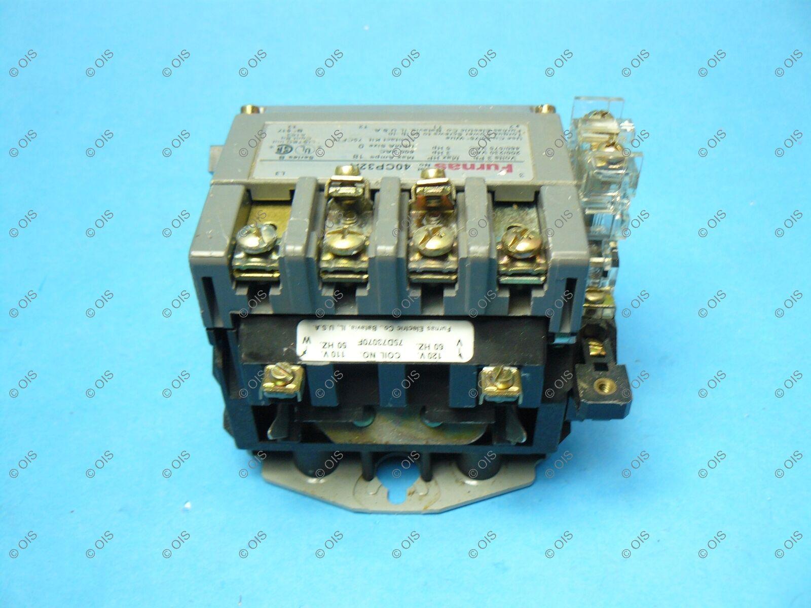 Furnas 40CP32AF NEMA Size 0 Contactor 3 Pole 120VAC Coil 18 Amp