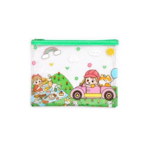 A4 A5 Kawaii Cartoon Mesh Pen Pencil Bag Large Capacity Transparent File Holder