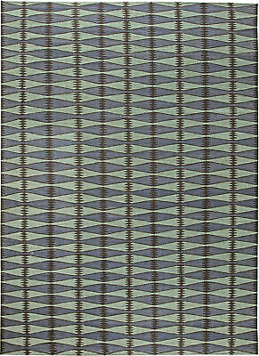 Contemporary Swedish Green Blue Black Flat Weave Wool Rug N11307 Ebay