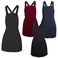 Ladies Womens Pinafore Dungarees Buttoned A Line Mini Dress Playsuit UK 6-16