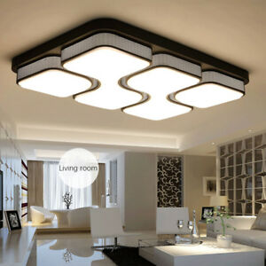 Image Is Loading Rectangular Acrylic Modern LED Ceiling Lamp Living Room