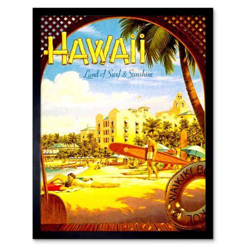 Travel Tourism Hawaii Surf Beach Sunshine Waikiki Hotel Pacific Usa Framed Print