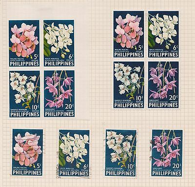 1962 Philippines Mix Of 12stamps Orchid Including Imperf 4block Outstanding Features q20-7 Stamps