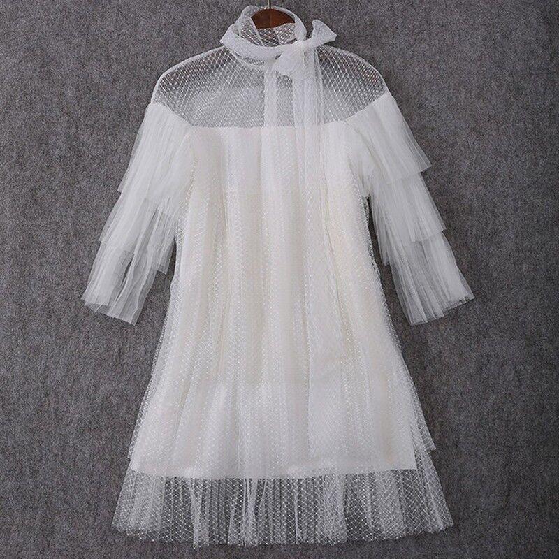 Weiß Sheer Layerd Dress - Größe Medium