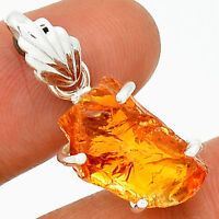 Natural Deep Orange Citrine Rough 925 Sterling Silver Pendant Jewellery