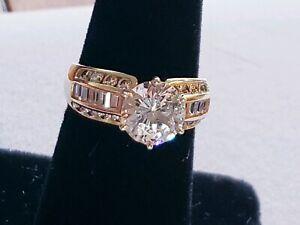EXCELLENT-CONDITION-14K-GOLD-DIAMONIQUE-CZ-ROUND-BAGUETEE-LADIES-RING