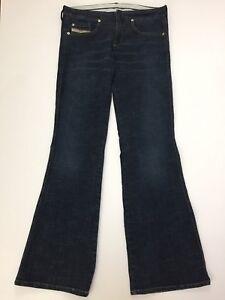 f7703085 Diesel Women's Jeans Low Rise Flare Snap Zipper Closure Dark Wash ...