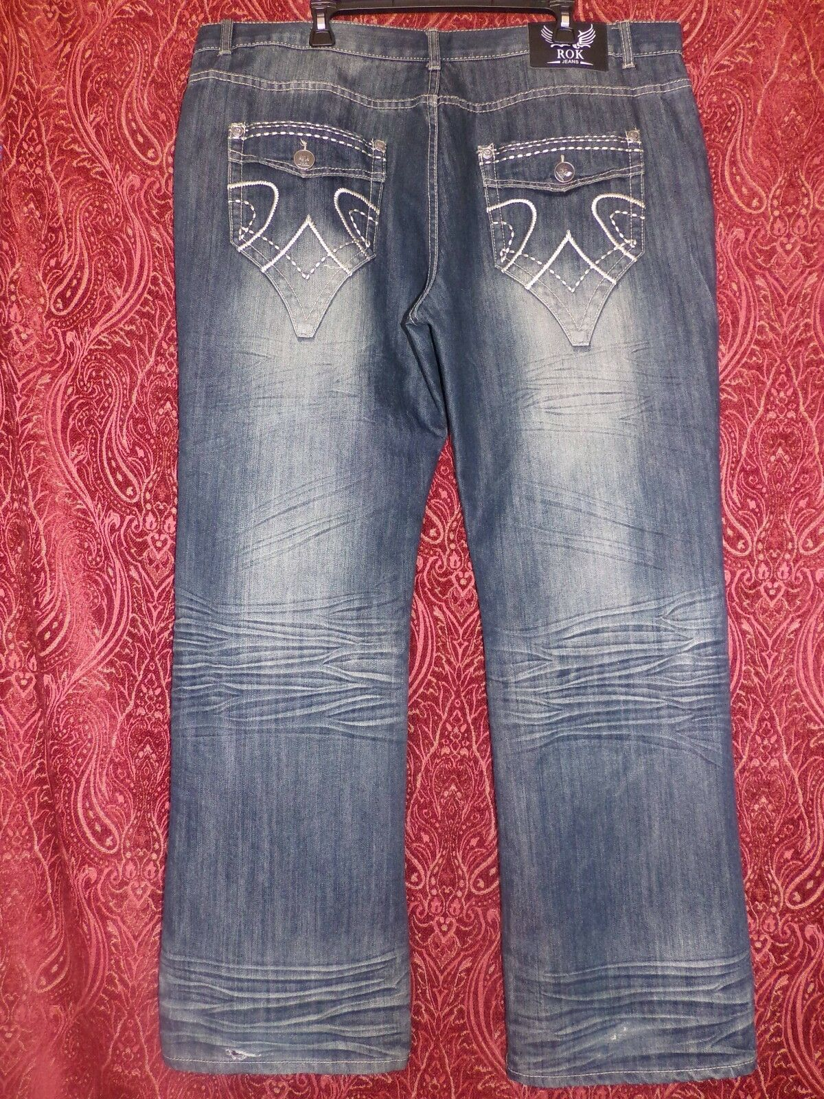 ROKrelaxed fit JEANS  42 X 34 retail  Awesome StoneWash In Style Denim