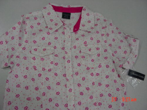 NWT Girls Summer Blouse Owls Hearts Faded Glory CUTE Stylish Casual Button Down