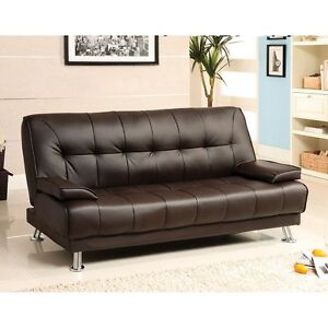 Details about Beaumont Dark Brown Leatherette Futon Sofa Bed For Living  Room Furniture Couch