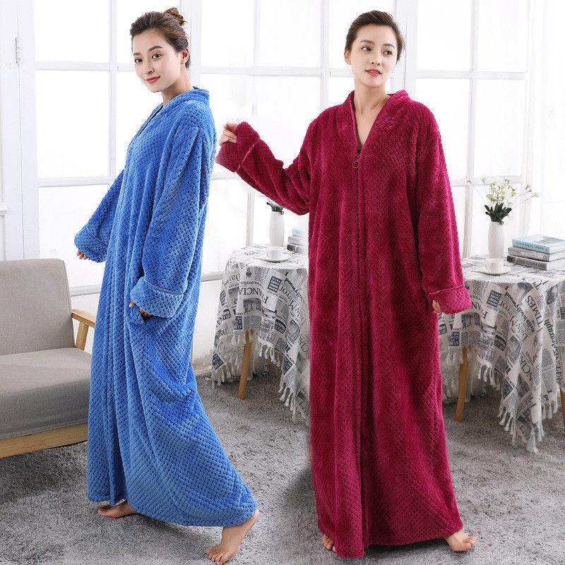 New Women's Fleece Dressing Gown Soft Long Hooded Fleece Bath Robe House Coat P9