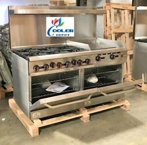 New 60 Double Oven Range Combo Griddle Hot Plate Stove Top Commercial Nsf Ebay