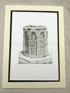 1857-Antique-Architectural-Print-Italian-Baptism-Font-Venice-Italy-Engraving
