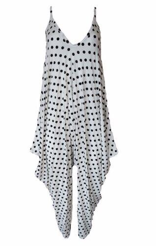 Womens ladies Polka dots cami lagen look drape strappy hareem baggy jumpsuit