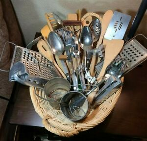 Antique Vintage Primitive Lot of 28 Kitchen Tools and Utensils Mixed Lot