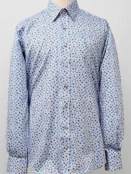 CLAUDIO LUGLI Mens Long Sleeve Cotton Shirt Floral Print CP5953 bluee Small