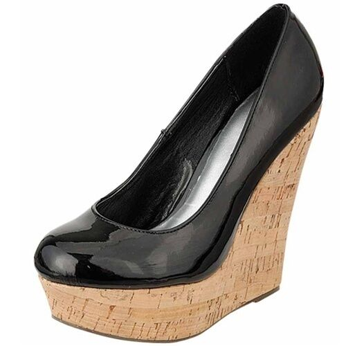 Breckelle's Cilo-02 Black Patent Round Toe Pump Platform Cork Wedge High Heel