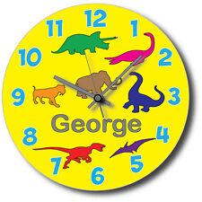 Dinosaur Wall Clock - Children's Personalised Dinosaur Wall Clock -30cm x 30cm