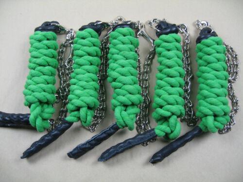 5 x Führzügel Strick mit Führkette insgesamt ca 280 cm lang grün