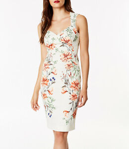 78a76b04d New KAREN MILLEN White BNWT £170 Floral Bodycon Dress DD013 UK Size ...