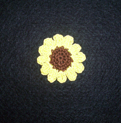 Crochet Sunflower Sewing Appliques Set of 3 Quilting Scrapbooking Crafts