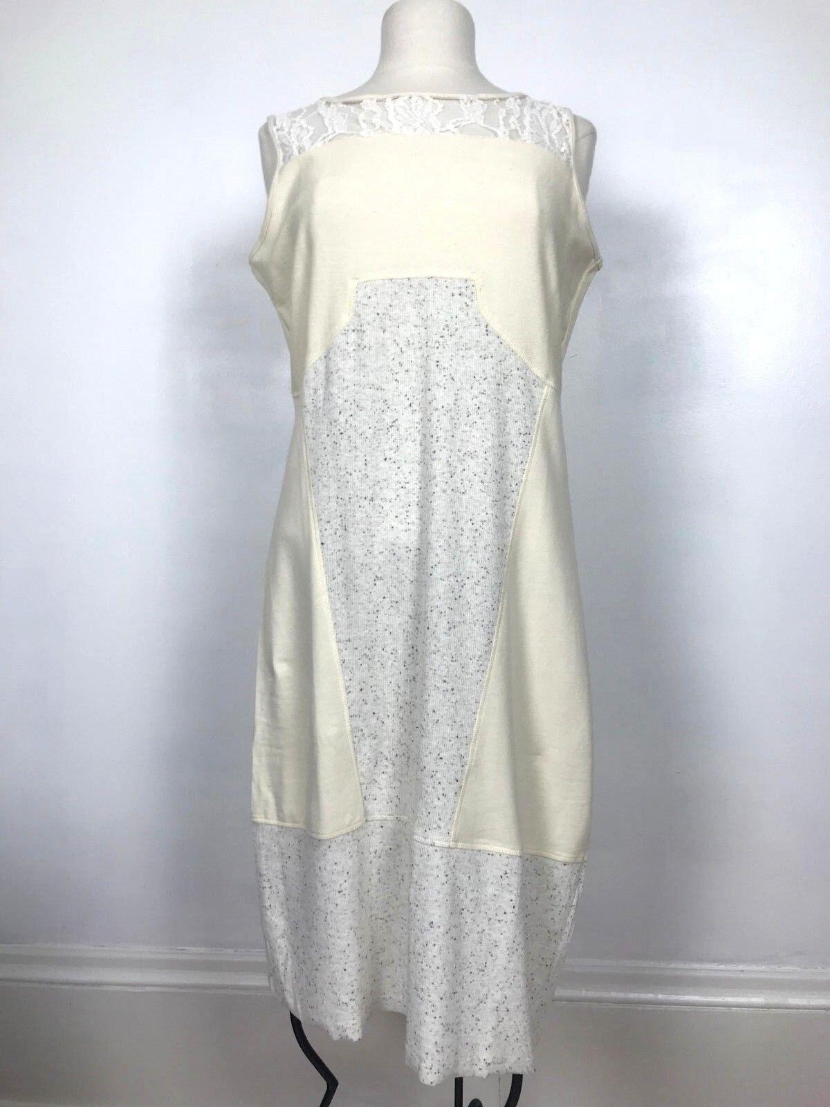 Sundance Catalog Mallorie Dress Dress Dress M Women's Ivory Tank Lace Inset Heather Panels 85e995