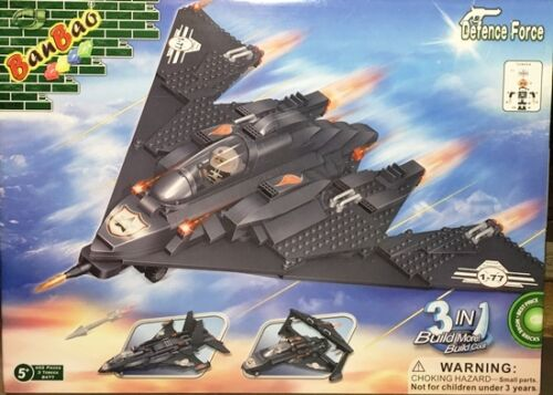 BanBao 8477 Military 3 in 1 Fighter Plane Building Block Set 402pcs Bricks New