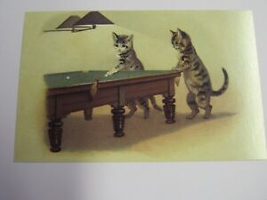 New Reproduction 1910 Cats Playing Pool Postcard P163