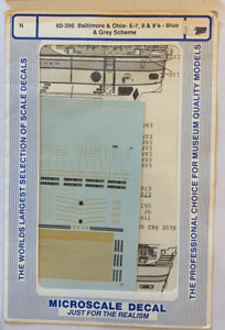 MICROSCALE N SCALE DECAL -BALTIMORE & OHIO/B&O E-7, E-8, E-9 BLUE & GRAY #60-396