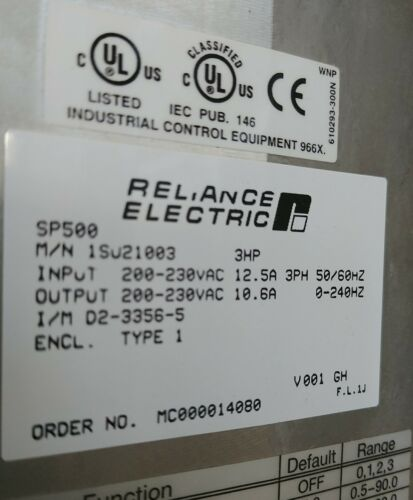 New in Factory Box Reliance SP500 1SU21003 Drive 3hp Enclosure Type 1