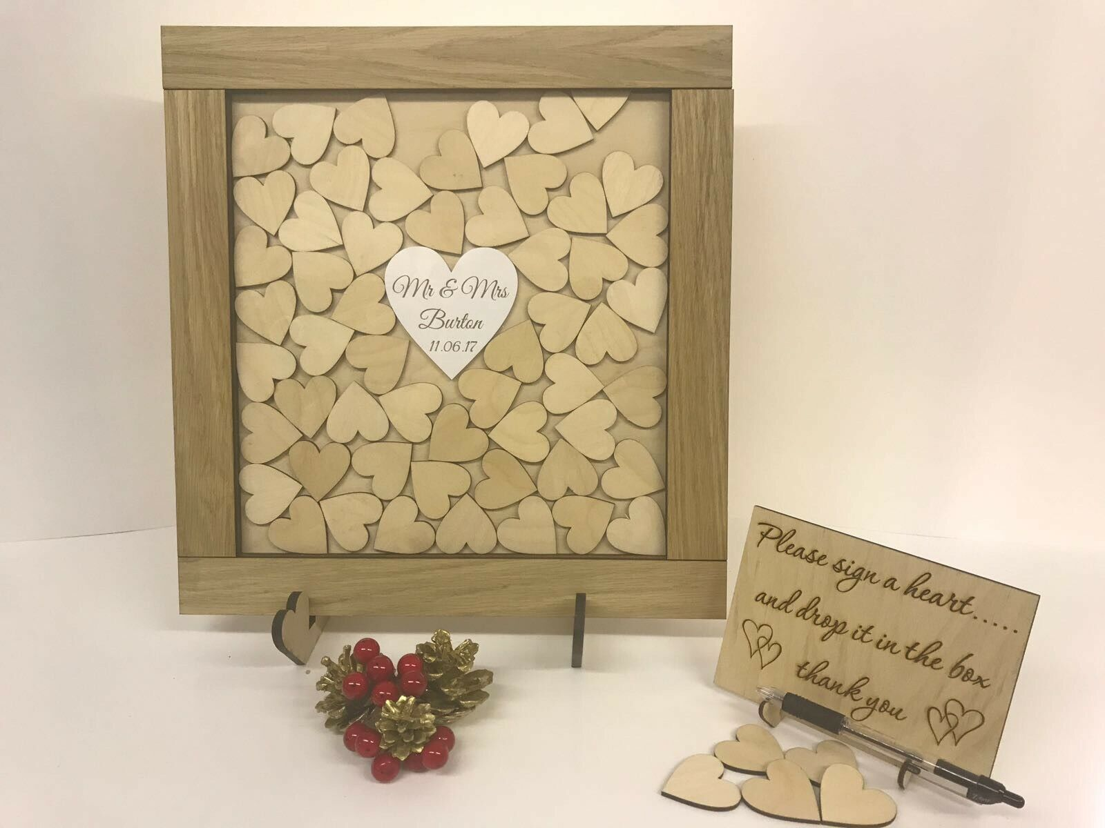 Personalised oak wooden wedding guest book heart drop box 140 hearts gift