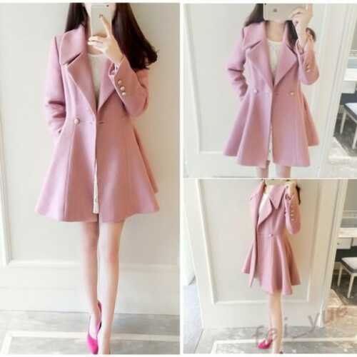 Overtøj Caual Coats Fit Fahion Kvinder Overcoats Slim Sweet Trench Pink Lapel avPfY