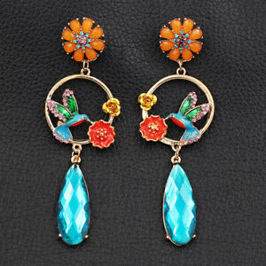 Betsey-Johnson-Enamel-Crystal-Flower-Bird-Round-Earbob-Dangle-Women-039-s-Earrings