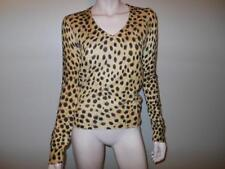 Dolce & Gabbana V-Neck Long Sleeve 100% Cashmere Leopard Knit Top Sweater S